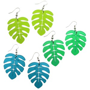 Big Monstera leaf Dangle earrings in chartreuce green and teal Summer summertime beach party jewelry