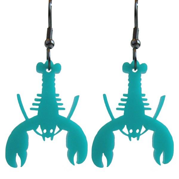 2 teal upside down hanging teal lobster pendant earrings