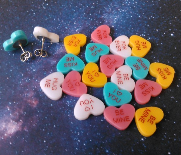 mess of Customized Candy Hearts Stud Earrings in white pink teal and yellow