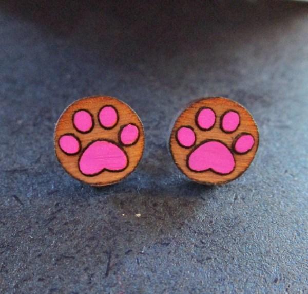 pink Paw Print Earrings made of laser etched wood stud earrings