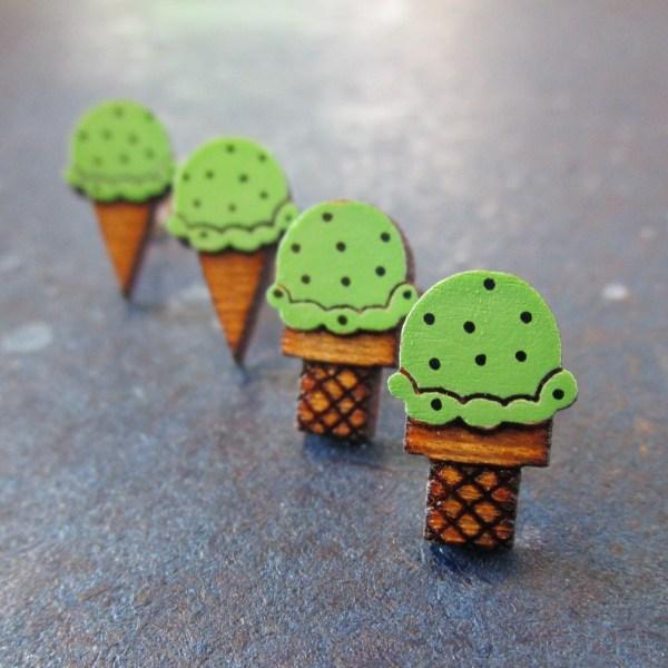 diagonal line of Mint Chocolate Chip Ice Cream Earrings studs