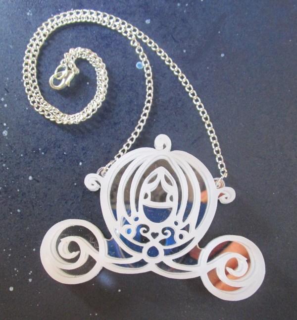 mirrored silver Big Cinderella Pumpkin Carriage Necklace