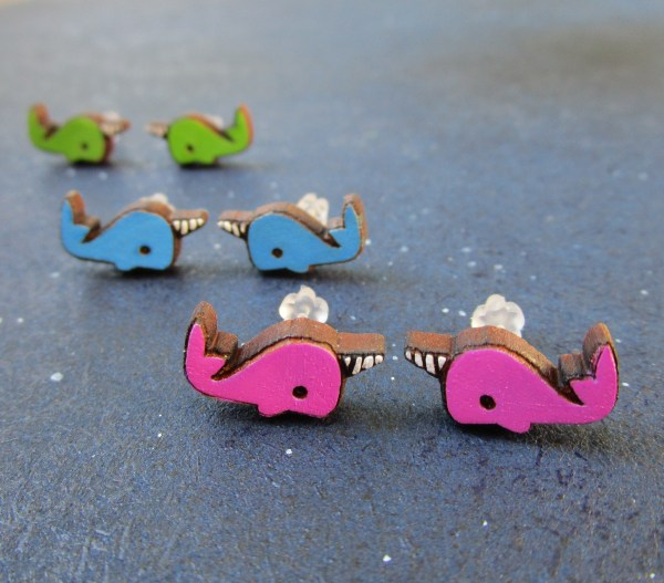 set of 3 narwhal earrings up front is the pink pair followed by the blue and green pair