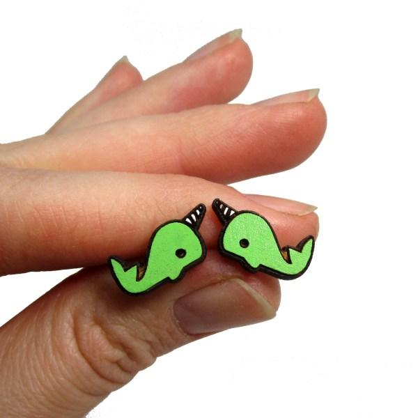 Cute colorful narwhal cartoon painted wood stud earrings