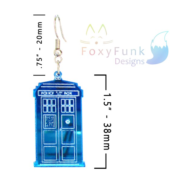blue police box earring floating on white background with measurements and foxyfunk designs logo