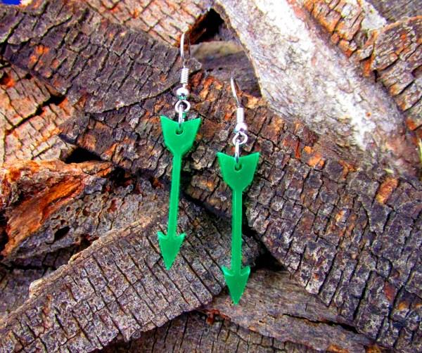 cute green arrow dangle earrings costume dc