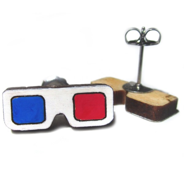 retro 3d glasses stud earrings one facing forward one upside down so you can see the earring post