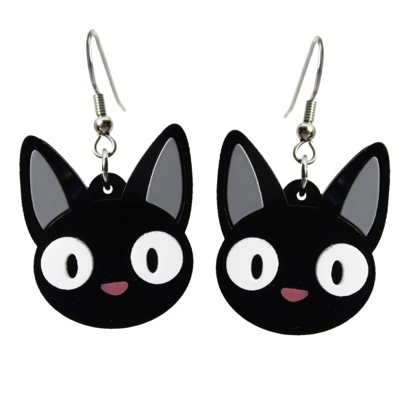 Jiji Cat from Kikis Delivery Service Face pendant earrings but with gray ears black cat anime face