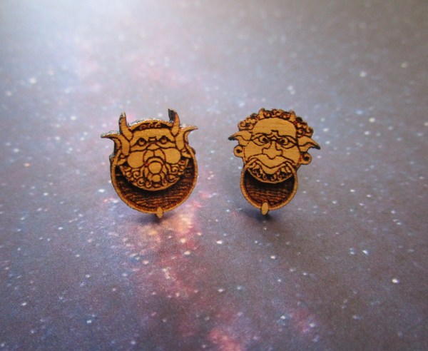 Wooden Labyrinth Door Knocker Stud Earrings on space background