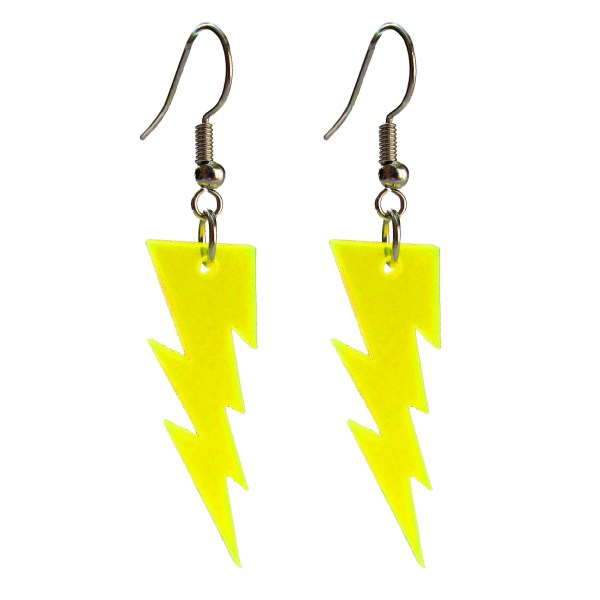 yellow lightning bolt earrings floating on white background