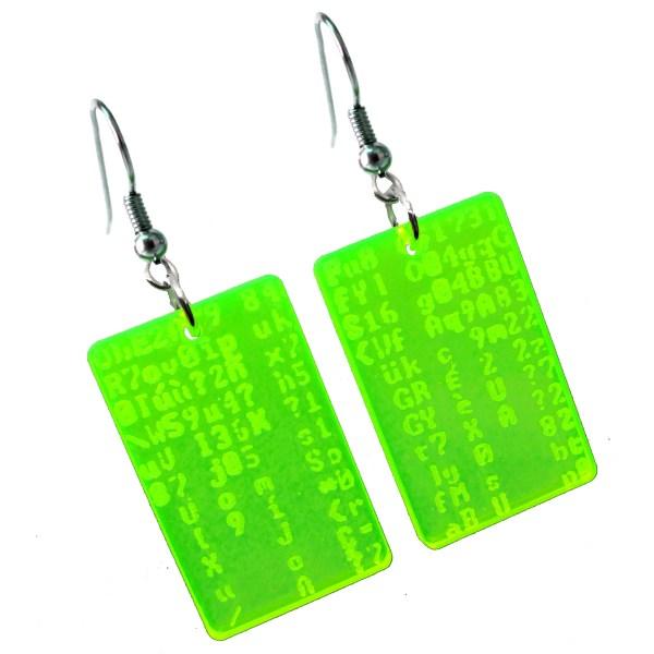 Matrix Trickle Code Programmer Neon fun Dangle Earrings coder gift jewerly
