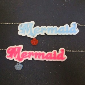 Mermaid Word Statement Necklaces one blue one pink