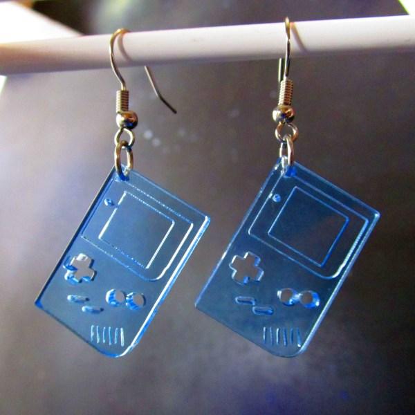 neon blue retro 1st gen gameboy dangle earrings