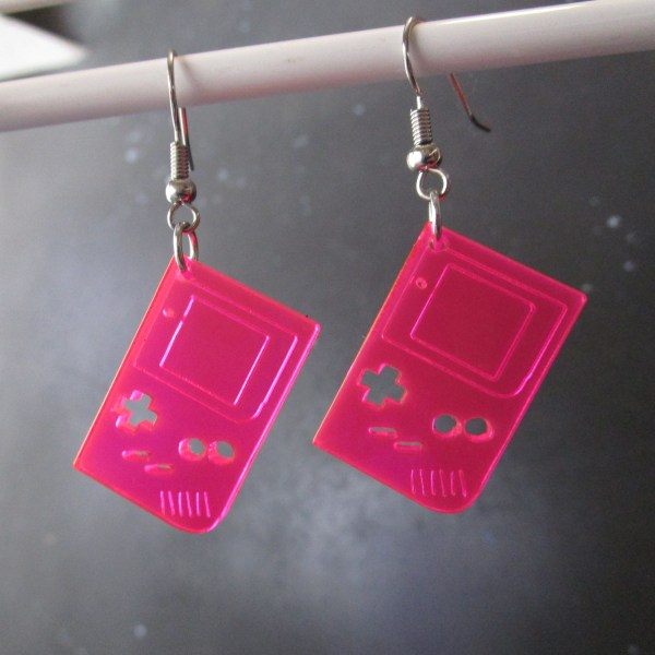 neon pink retro 1st gen gameboy dangle earrings