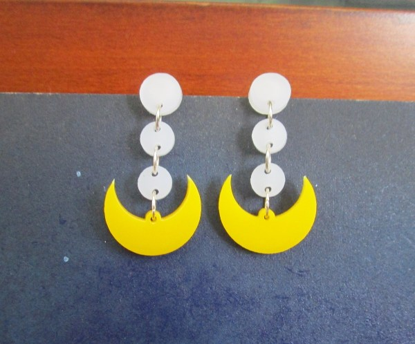 sailor moon dot earrings with crescent moon