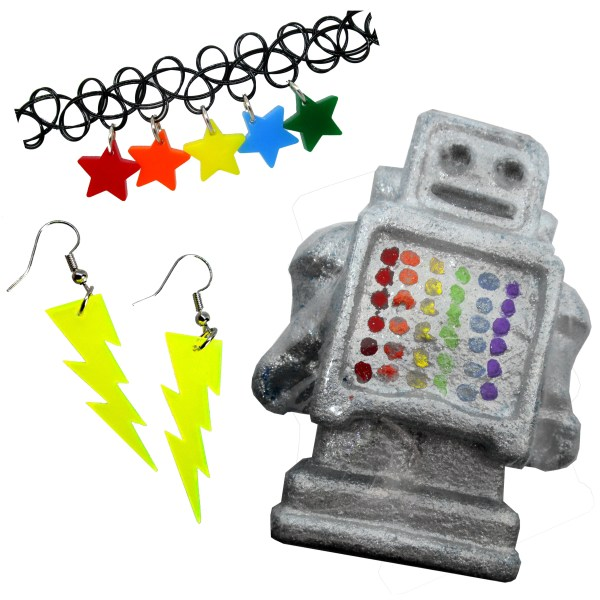 Robot bath bombs made by colourwaves bath and body with lightning earrings and rainbow star choker necklace gift set