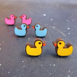 rubber duck stud earrings a yellow pair, blue pair and pink pair