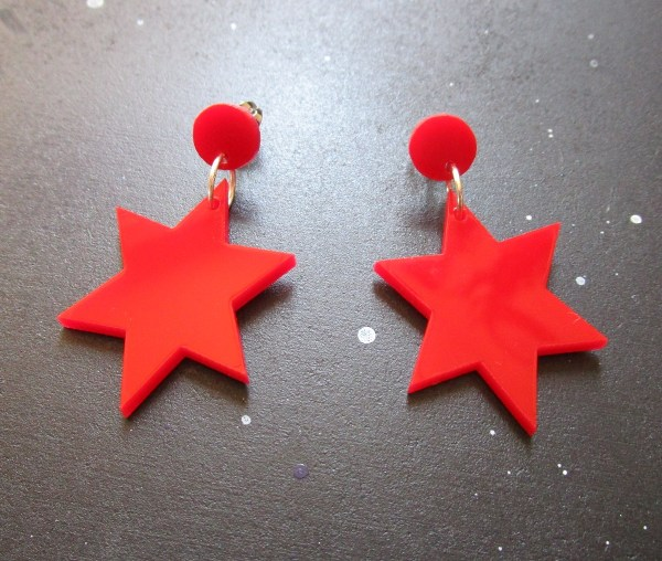 Sailor Mars Cosplay Earrings 6 point star on space background