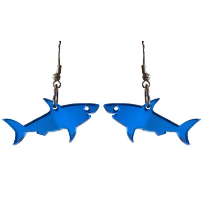 floating blue shark earrings with all white background