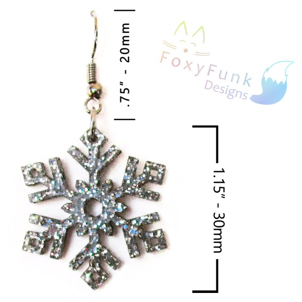 dimentions of one silver glitter snowflake earrings