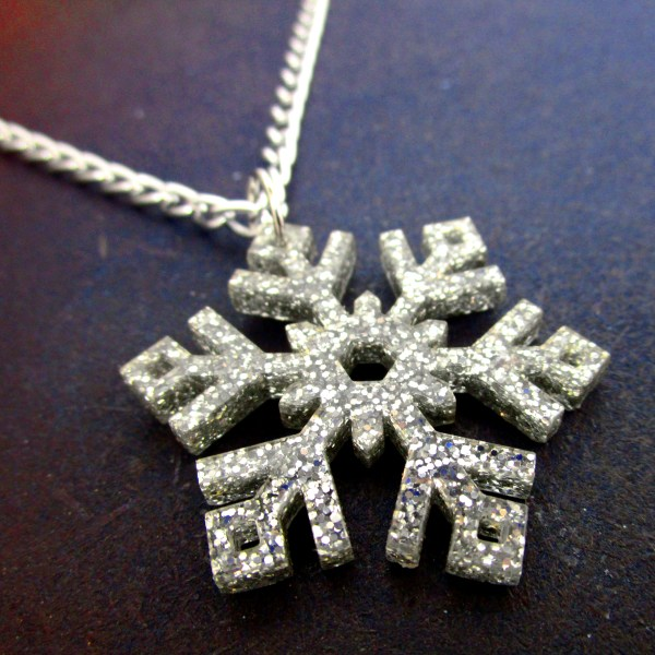 up close detail picture of large silver glitter pendant necklace on space background