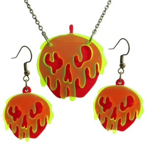 Snow White Poison Apple Looks like a Melting green poison face on red apples earrings and necklace jewelry set