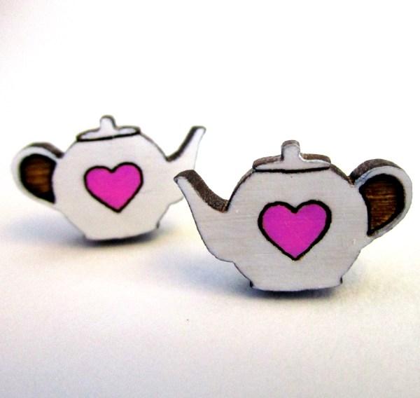 Teapot Heart Wood Stud Earrings Tea Lovers Tea Time Pot Posts