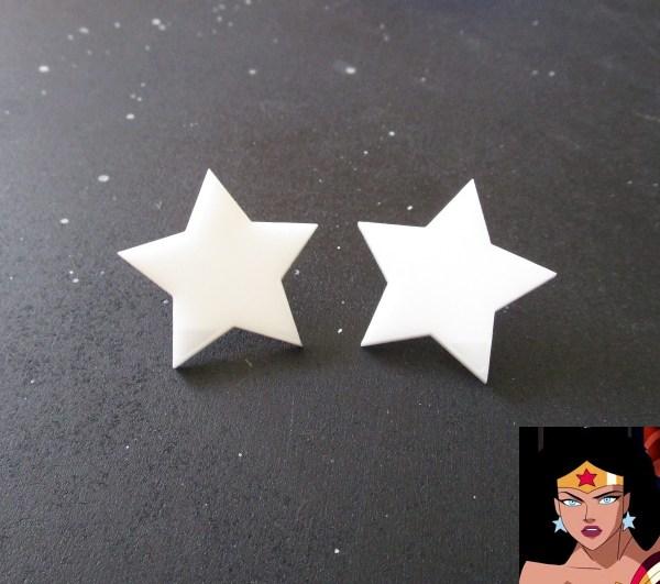 Wonder Woman Big Star White Cosplay Stud Earrings