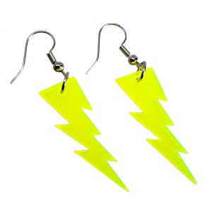 Yellow neon lightning bolt pendants dangle earrings that glow in black light rave jewelry