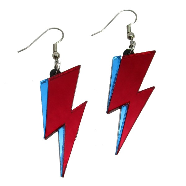 Ziggy stardust fanmade red blue lightning bolt dangle costume earrings david bowie