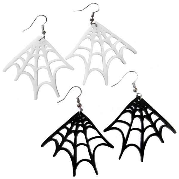 big corner spiderweb spider web white or black goth dangle earrings spooky halloween jewelry