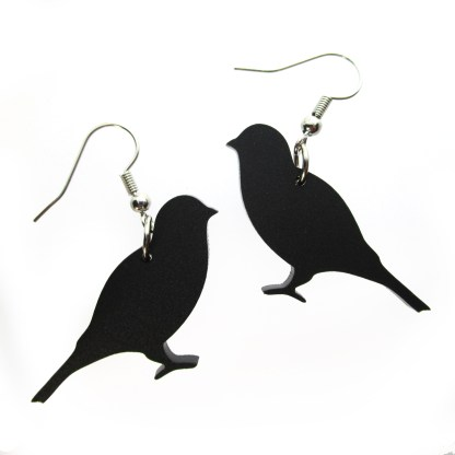 sprawled black canary laser cut earrings