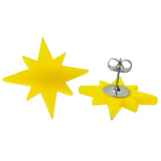 yellow captain marvel star stud earrings showing stud post and clutch back