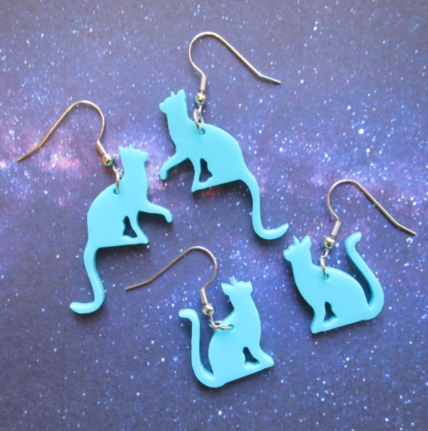 teal cat silhouette earrings on french style hooks