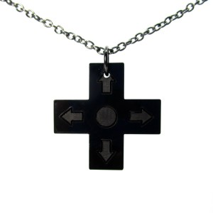 directional pad controller gamer pendant necklace on gunmetal chain