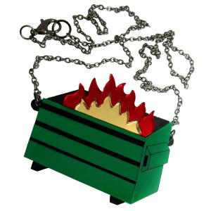 green dumpster fire pendant necklace symbol funny and weird jewelry