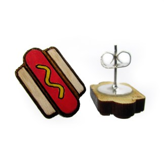 hot dog wood earrings one showing front to show detail and one showing post and clutch