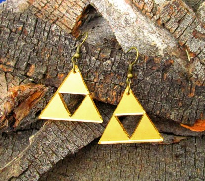 designer triforce golden triangle dangle statement cosplay earrings