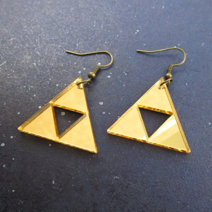 legend of zelda triforce gold dangle earrings