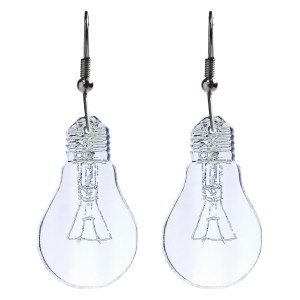 upside down light bulb shaped pendant earrings on white background