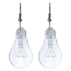 upside down light bulb shaped pendant earrings on white background