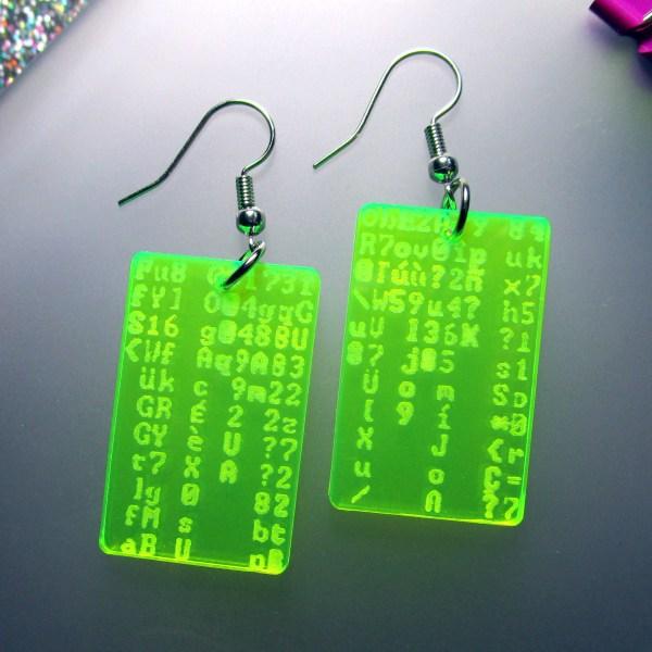 neon green coding coder programmer matrix code earrings