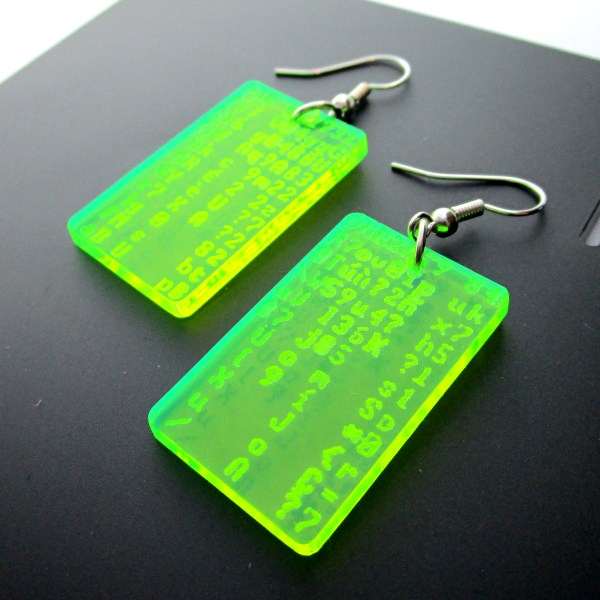 green coding nerd dangle earrings