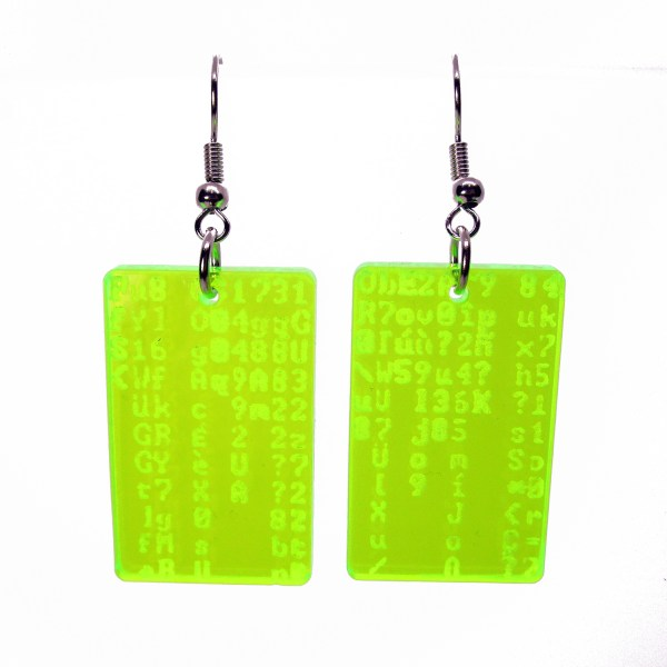 matrix trickle code neon dangle earrings
