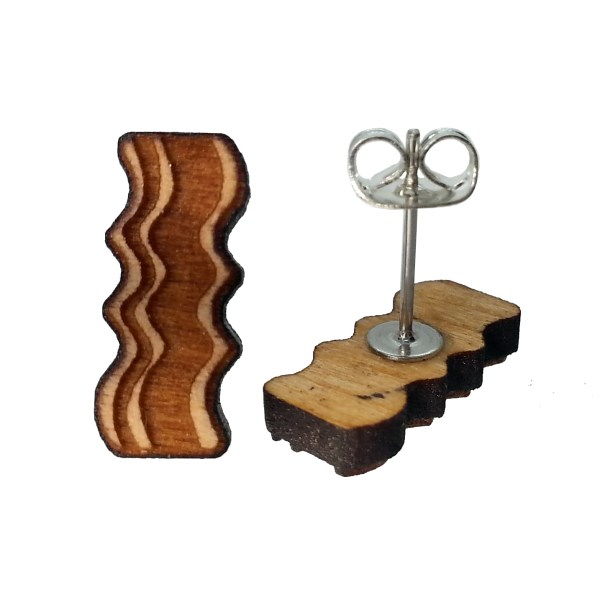 natural cherry wood bacon stud earrings showing post earrings and butterfly clasp