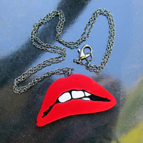 red rocky horror picture show biting lips with chain and lobster clasp