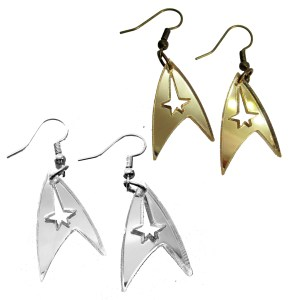 star trek delta signal symbol badge insignia dangle earrings in silver or gold acrylic for cosplay and costumes
