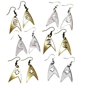 star trek engineering medical or science officer symbol badge insignia dangle earrings in silver or gold acrylic for cosplay and costumes