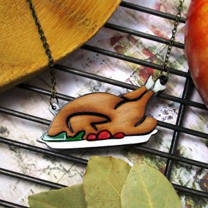 thanksgiving turkey necklace on platter
