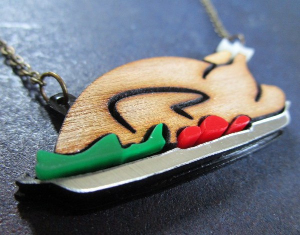 close up of turkey shaped pendant necklace for holidays